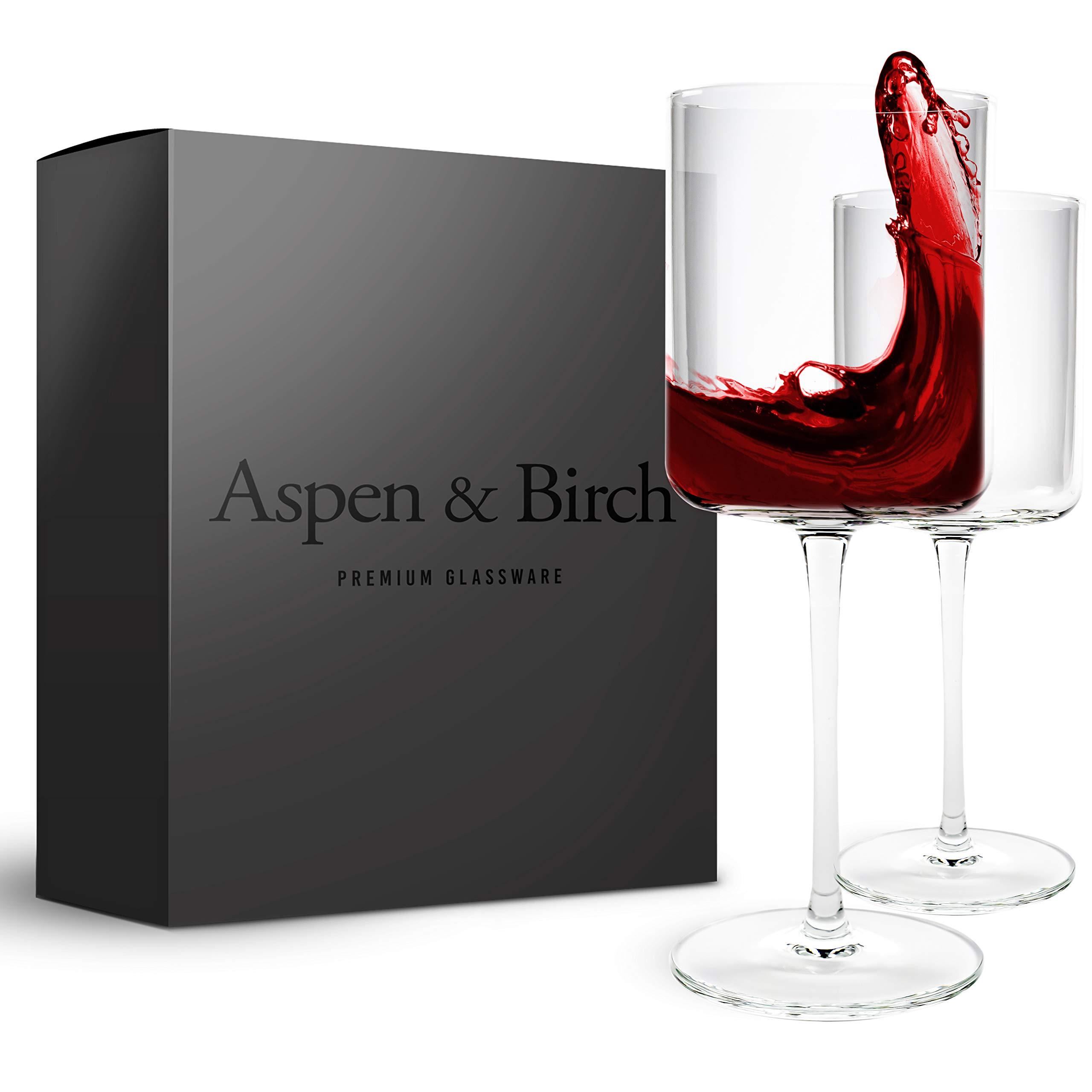 Aspen & Birch | Modern Wine Glasses Set of 6 | Red Wine Glasses or White Wine Glasses | 100% Lead Free Crystal Stemware | Large Long Stem Wine Glasses Set | Clear | 15oz | Hand Blown Glass