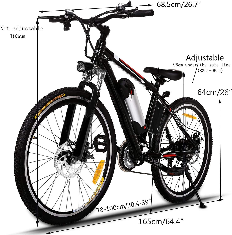 Ancheer Bicicleta Eléctrica de Montaña, E-Bike 26 Pulgadas, Batería de Litio 250W 36V Desmontable, Sistema de Transmisión de 21 Velocidades, con Linterna (Negro): Amazon.es: Deportes y aire libre
