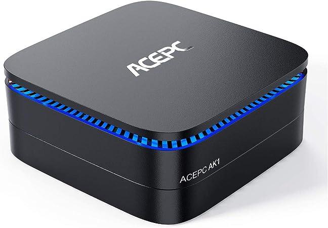 Todo para el streamer: ACEPC AK1 Mini PC,Windows 10(64 bits) Procesador Intel Celeron Apollo Lake J3455(hasta 2,3GHz) Computadora de Escritorio[8GB/120GB/Soporte 2.5