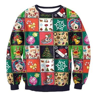 516fee1a36751 AIMEE7 Sweat Homme Pull Noel Manche Longue Col Rond Sweat Shirt Imprimé Noël  Unisexe Sweatshirt Slim