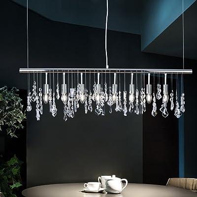 Cristal Lumiere Suspendue Moderne Contemporain Chrome Metal Lustres