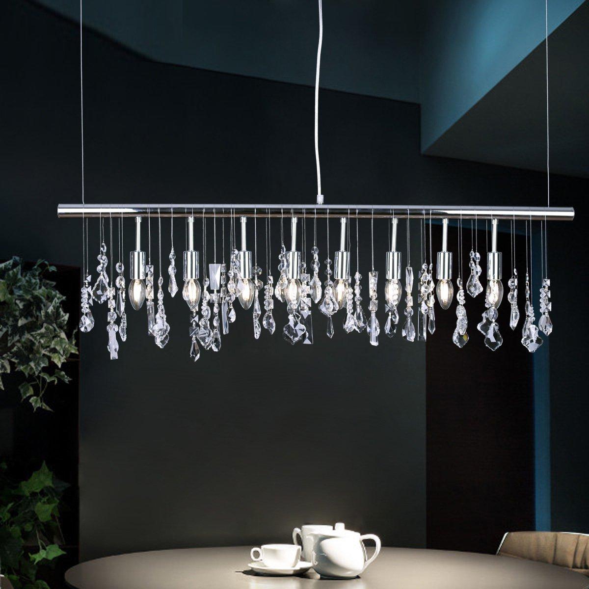 Modern Elegant Kristalllamp Pendelleuchte Chrom Metall Hängelampe ...