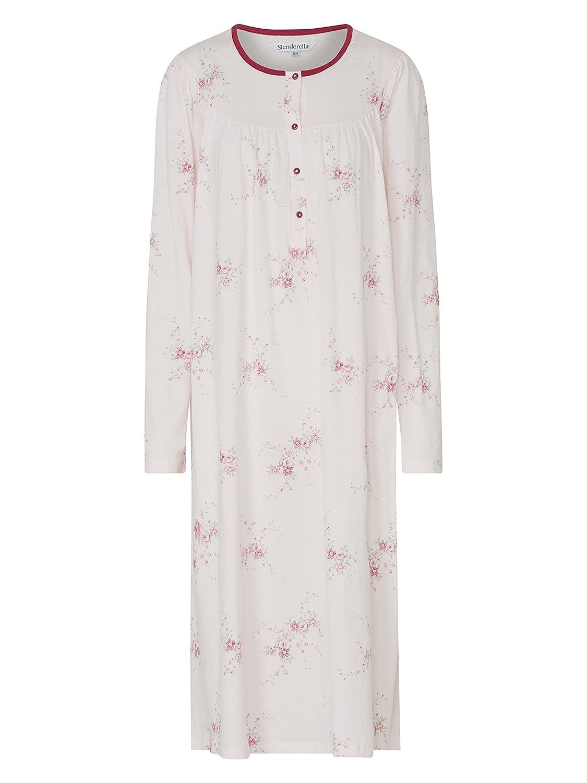 Slenderella Floral Print 100% Egyptian Interlock Cotton Long Sleeve  Nightdress  Amazon.co.uk  Clothing 442c72083