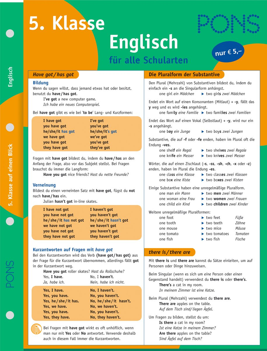PONS Englisch auf einen Blick - 5. Klasse: kompakte Übersicht ...