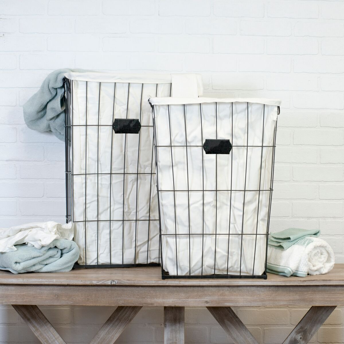 Amazon.com: Vintage Inspired Set of Two Tall Metal Wire Laundry ...