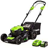 Greenworks LMF403 21-Inch 40V Cordless Brushless Self-Propelled Lawn Mower, 5.0Ah Battery and Charger