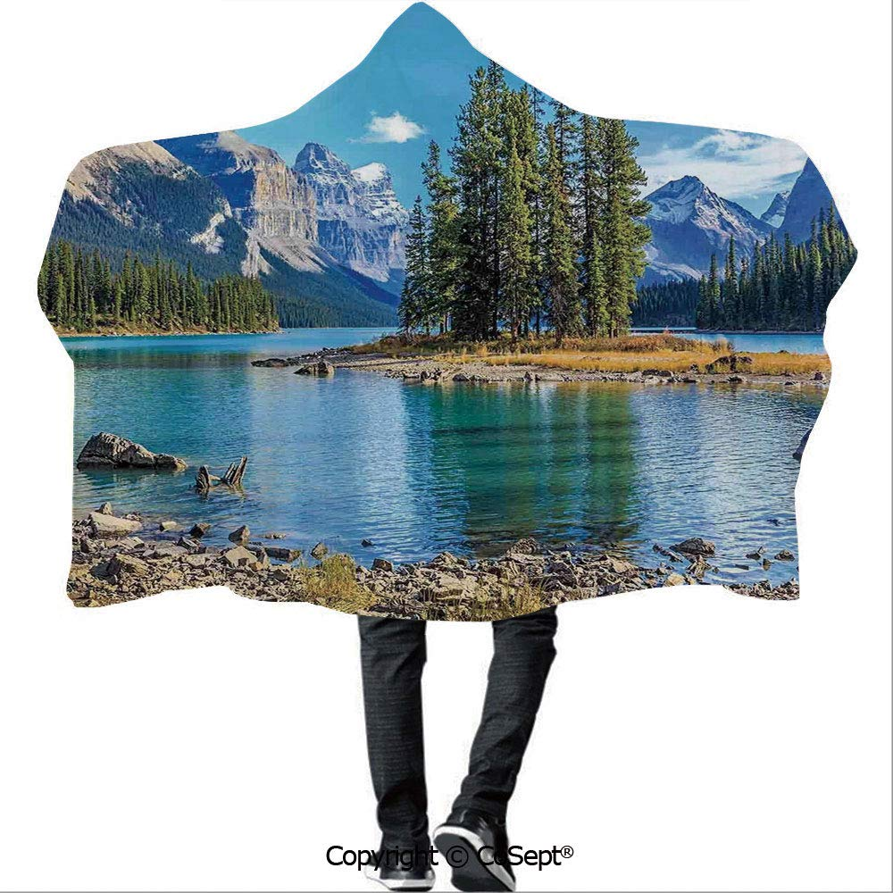AmaUncle Wearable Hooded Blanket,Scenery of Spirit Island in Maligne Lake Canada in a Summer Time Covered with High Mountains,Camping Indoor Outdoor Travel(59.05x78.74 inch),