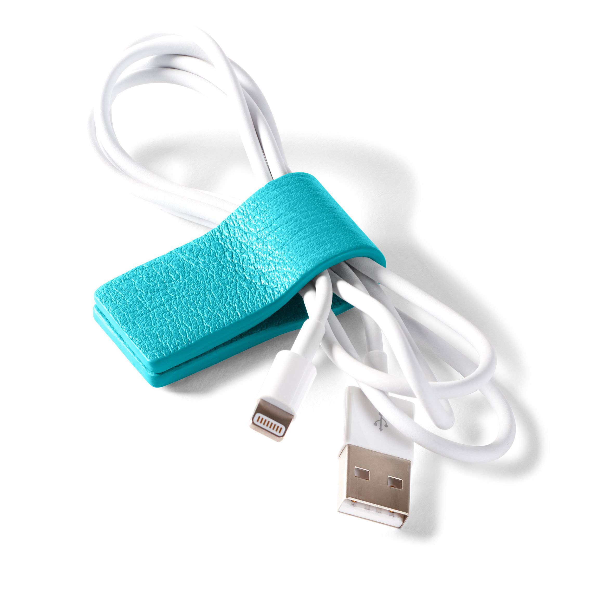 Cord Wrap - Full Grain Leather - Teal (blue)