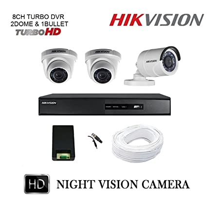 Hikvision 8 Channel HD DVR & Recording 3 HD CCTV Camera Kit Bullet Cameras at amazon
