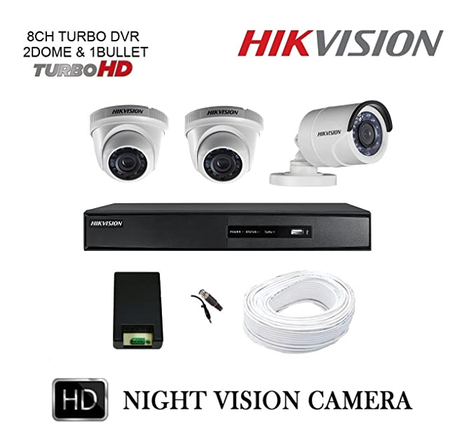 Hikvision 8CH Turbo HD Metal DVR with 1MP (720P) 2 Dome and 1 Bullet Cameras Combo Kit without Hard Disk. Bullet Cameras at amazon