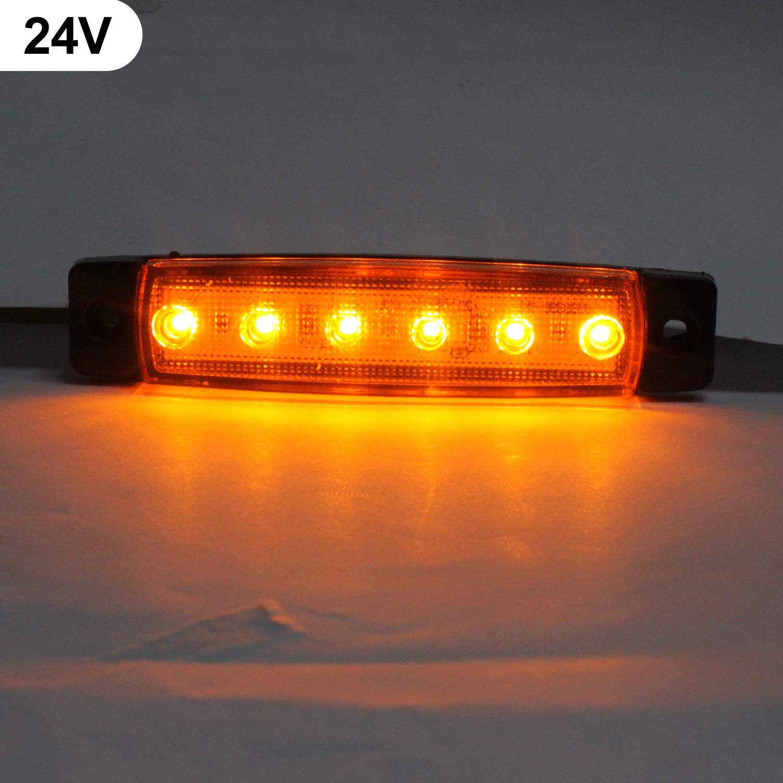 10 Pcs 3.8Side Marker Indicators light,24V Red LED Side Marker Lights Lamp,Trailer marker lights for Back Up Rear Trailer Pickup Van ATV Lorries Ambulance side Trucks Cab,RV Truck,Bus cab Camper