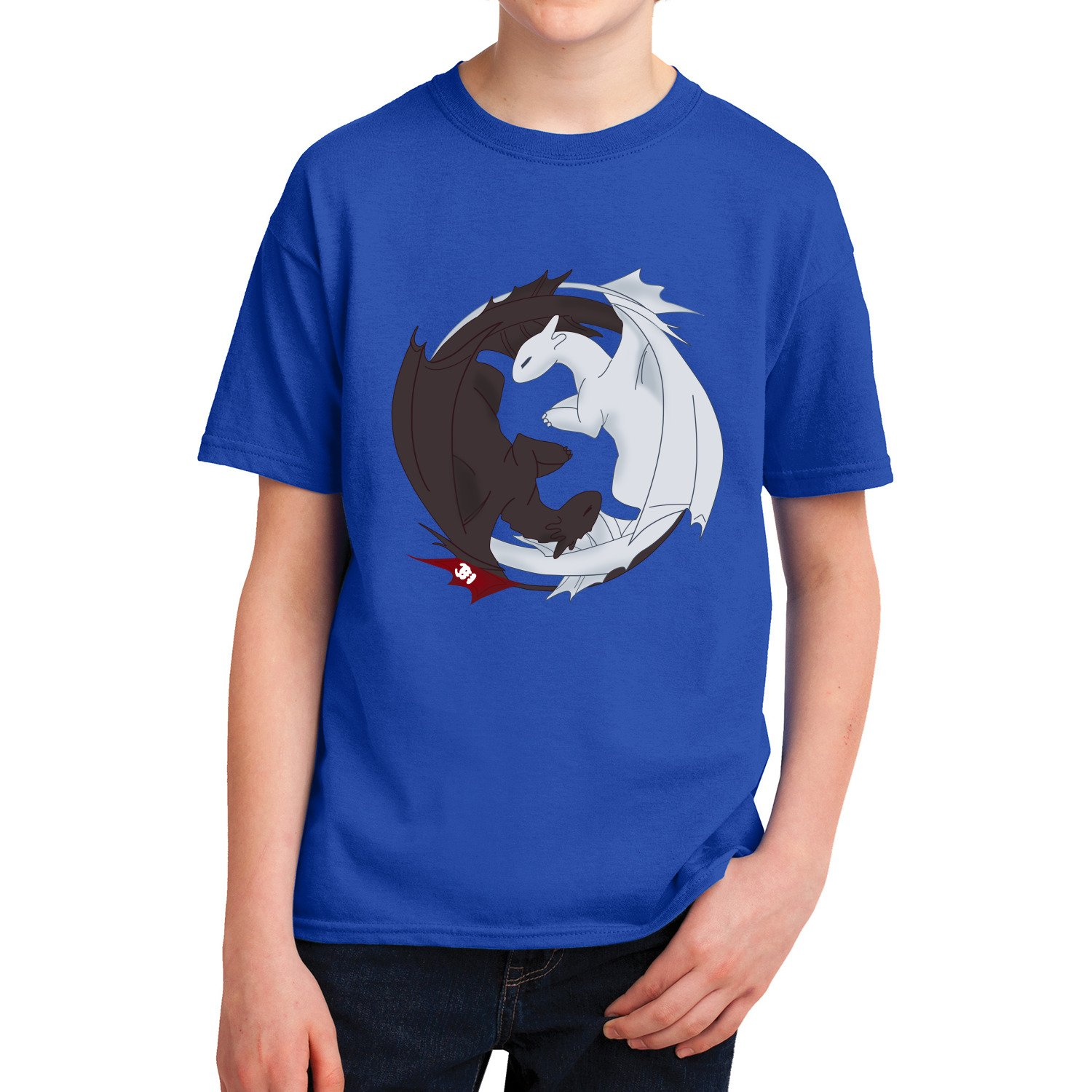 Kids How to Train Your Dragon Night Fury Love Light Fury T-Shirt (XL, Sport Grey) by ShinyKT (Image #3)