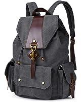 Vbiger Vintage Canvas Backpack Casual Shoulder Bag Large Capacity Rucksack for Men and Women