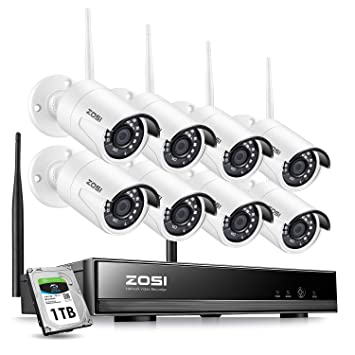 ZOSI 8CH 1080P Wireless Security Cameras System With 1TB Hard Drive,H.265+ Home Cctv Wiring Diagram on