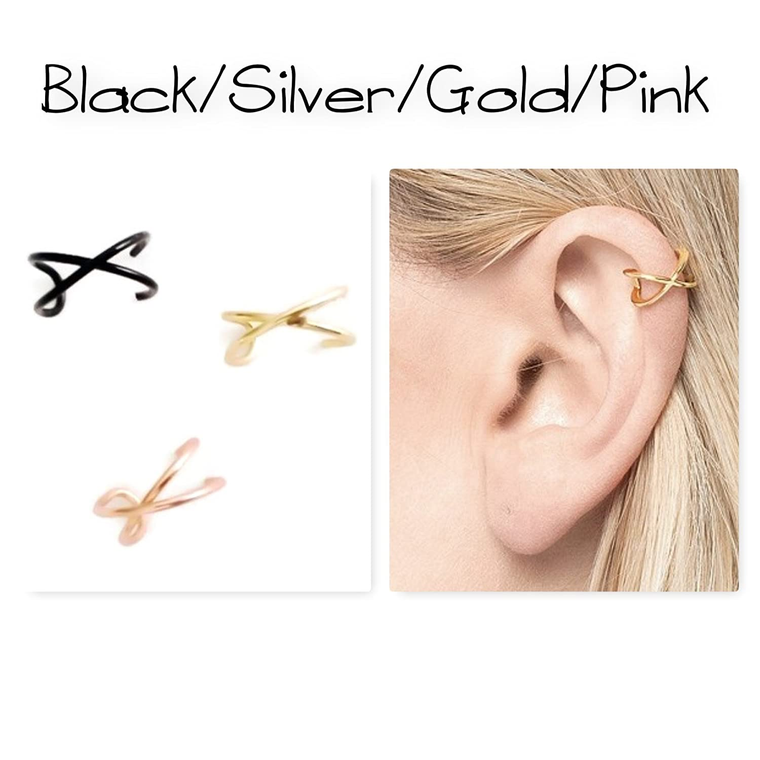 Criss Cross Ear Cuff X Cuff Earring Fake/Faux Cartilage Piercing Sterling Silver Rose/Yellow Gold Filled