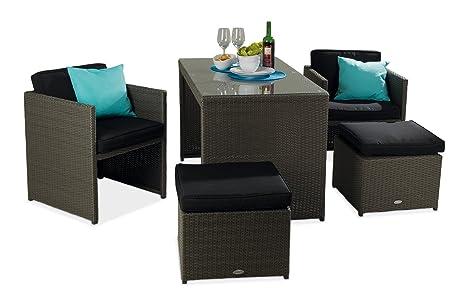 Set di mobili da giardino lounge möbel 11 pezzi 1 tavolo 2