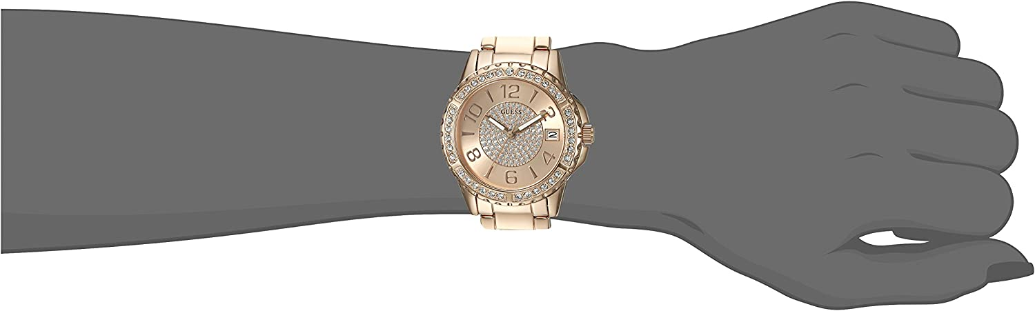 GUESS Women's Stainless Steel Crystal Casual Watch Rose Gold Tone