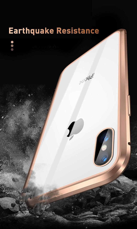 Sweau Compatible con iPhone XR Funda de Adsorci/ón Magn/ética,360 Full Body Protection Cubierta Trasera de Vidrio Templado Ultra Delgado Metal Bumper Case Cover para iPhone XR