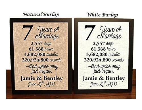 Amazon Com 7 Year Anniversary Burlap Print 7th Anniversary 7th Anniversary Gift 7 Years Together 7th Wedding Anniversary 7th Anniversary Gift For Her 7 Years Of Marriage Handmade