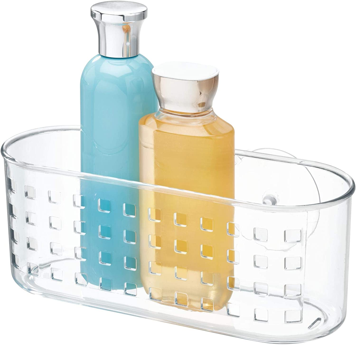 iDesign Shower Basket with Strong Suction Cups, Small Shower Organiser Made of Durable Plastic, Compact Shower Caddy for Sponge, Shampoo or Shower Gel, Clear