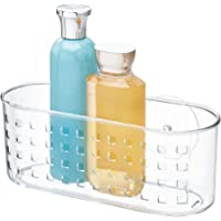 iDesign Basic Suction Shower Shelf, Shower Organiser without Drilling, Made of Plastic, Clear