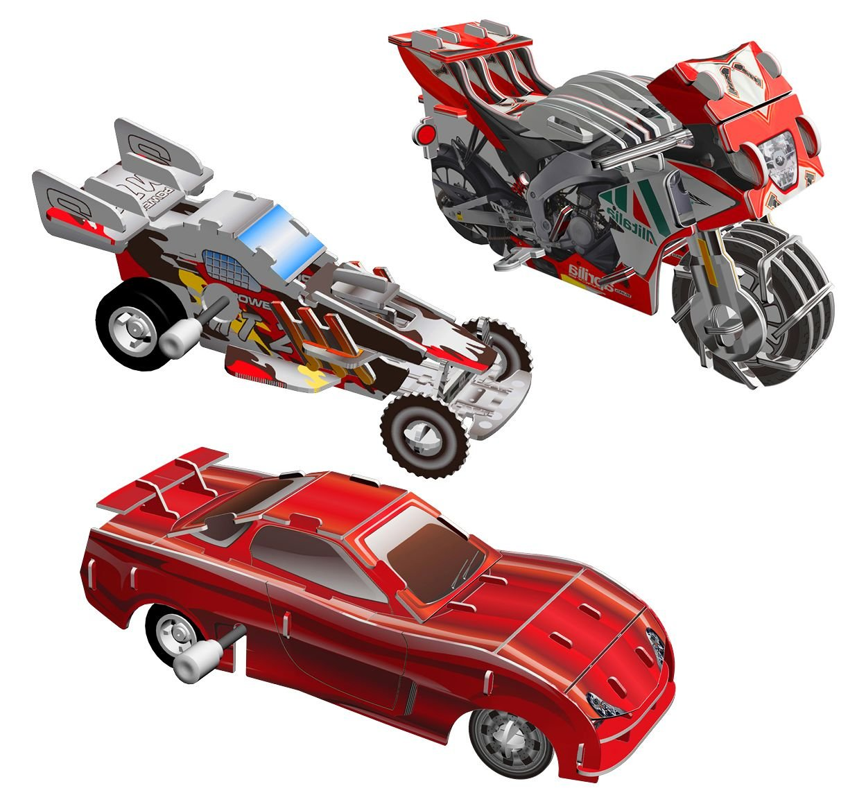 Smithsonian Mini 4 Sport Vehicle Assortment 3D Build /& Play Motorized Puzzle Pack Skullduggery Inc