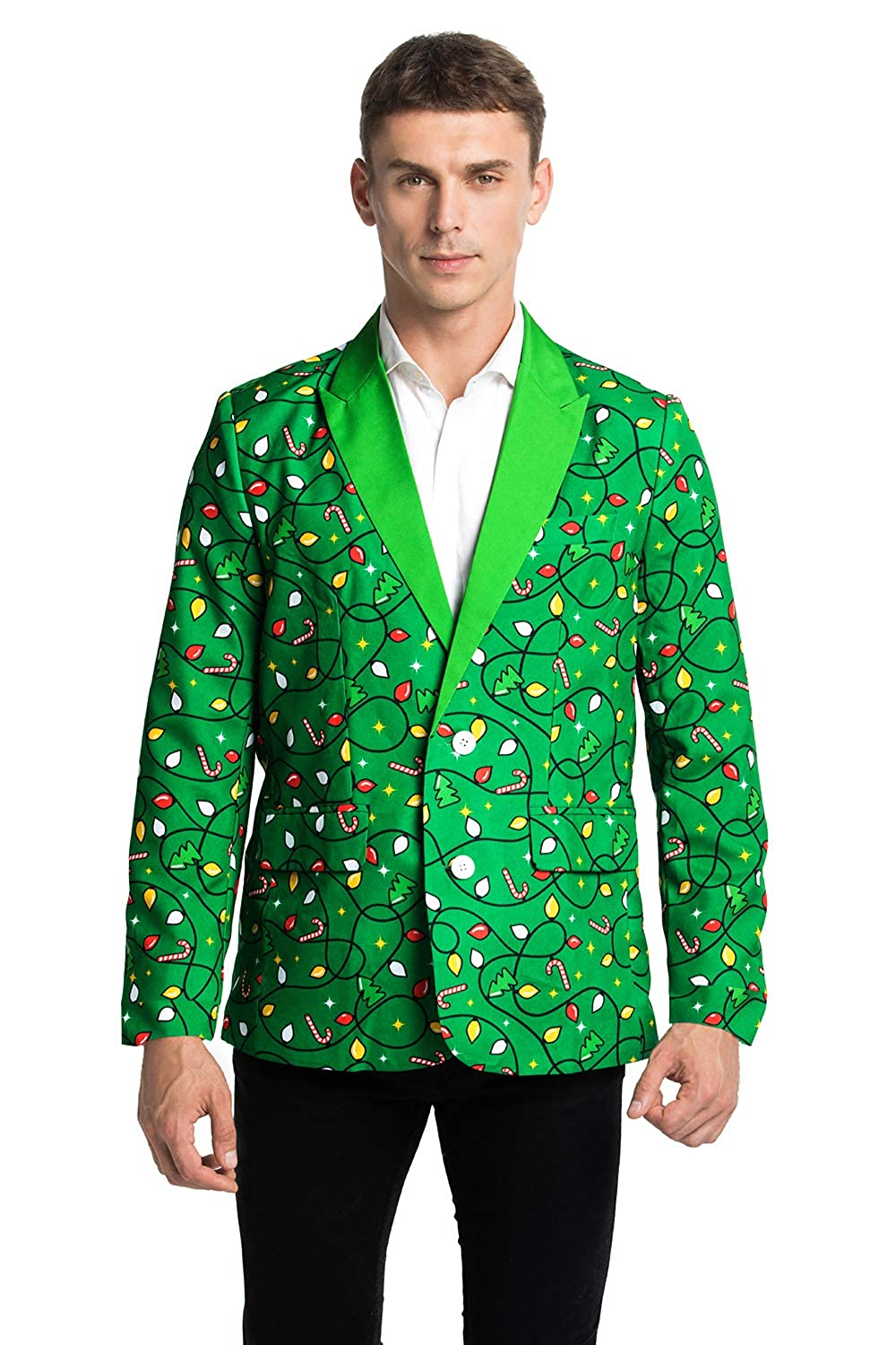 U LOOK UGLY TODAY Men/'s Christmas Party Blazer Funny Xmas Party Suit Jacket with Santa Reindeer