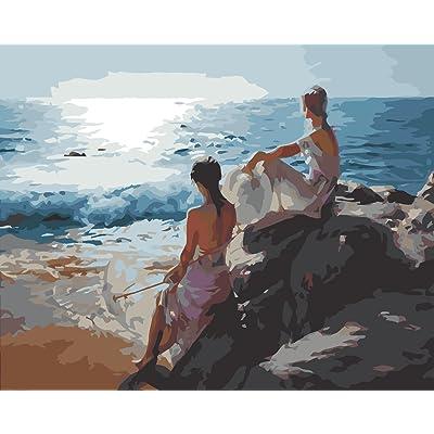 Fuumuui Lienzo de Bricolaje Regalo de Pintura al óleo para Adultos niños Pintura por número Kits Decoraciones para el hogar-Las Hermanas Miran el mar 16 * 20 Pulgadas: Juguetes y juegos