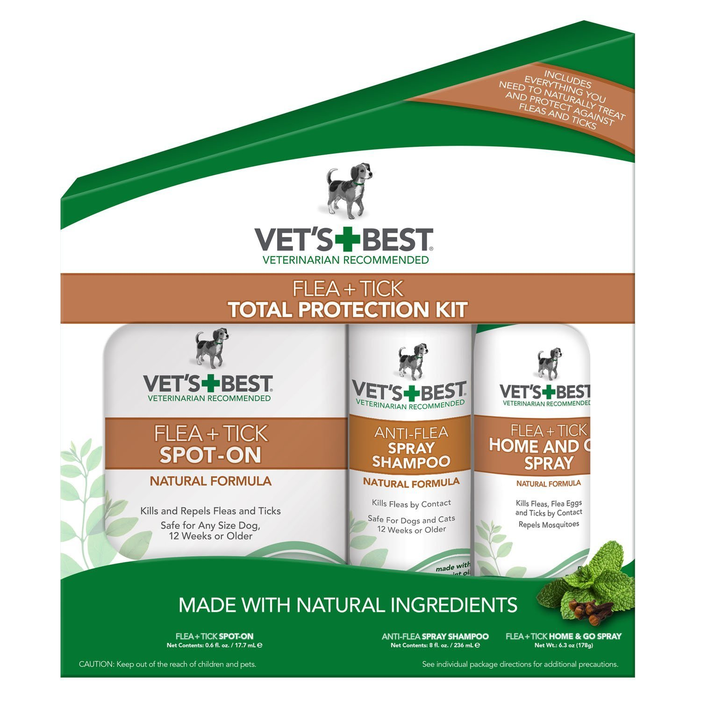 Vet's Best Flea & Tick Total Protection Kit for Dogs, 3 Pcs Set (5 Pack) ERFB
