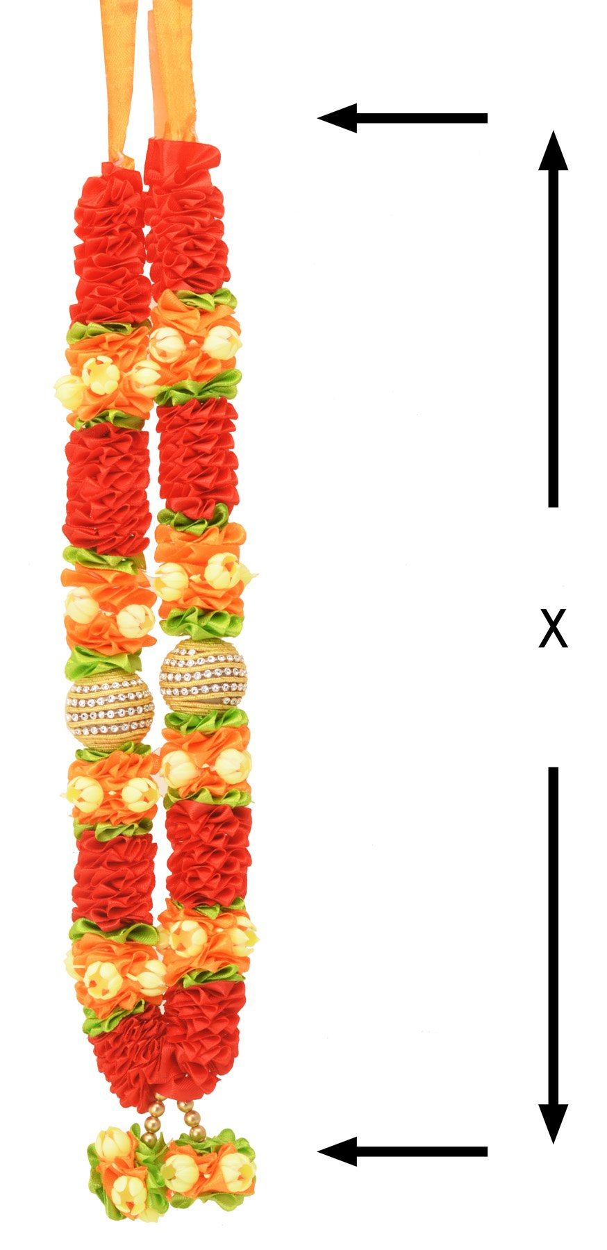 Decoration Craft Fabric Ribbon Red colored Garland (33 CM + Ribbon) by Decoration Craft (Image #3)