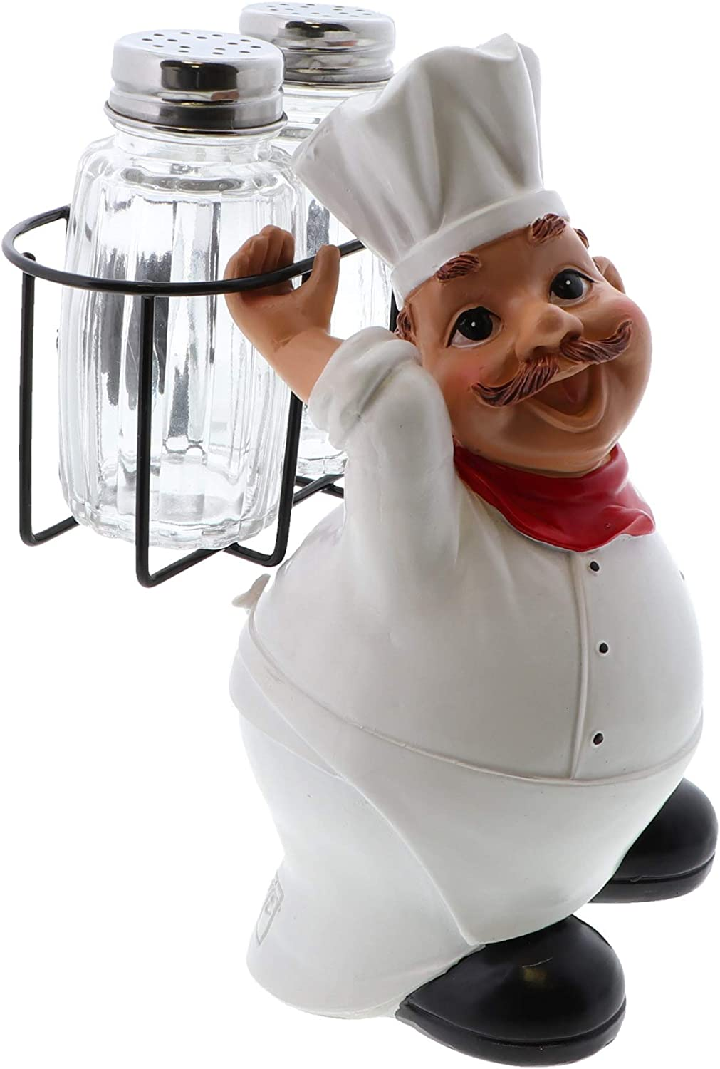Fat Chef Kitchen Décor Novelty Salt and Pepper Shaker Set with Stand - Chef