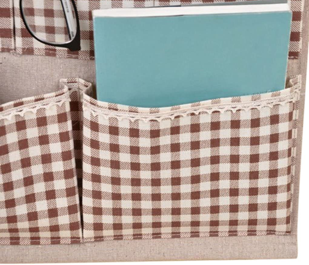 Starsource Lined//Cotton Fabric 8 Pockets Wall Door Closet hanging Storage Bag Organizer with wooden hanger/£/¬Dots//Square,Pink