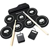iWord 電子ドラム ポータブルドラム 7個ドラムパッド 8デモ曲 5ドラム音色 練習用パッド 30時間の連続使用 外部音源入力可能 練習/初心者/入門/子供/おもちゃ フットペダル ドラムスティック 日本語説明書付き