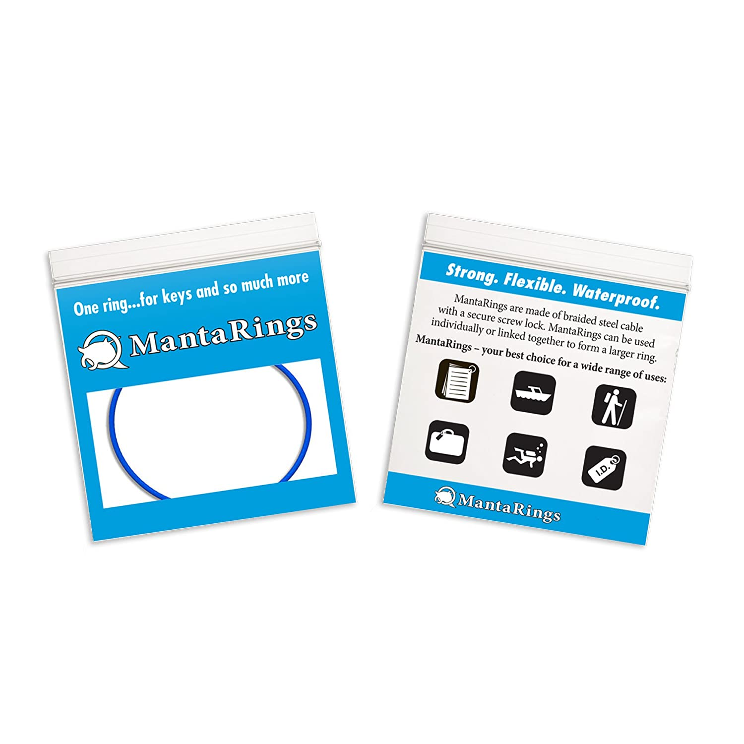 Amazon.com : MantaRing - Cable Key Ring with Screw Lock - Strong, Flexible, Waterproof. One Ring for Keys and So Much More (Blue) : Key Tags And Chains ...