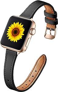 Muranne Leather Band Compatible with Apple Watch SE 38mm 40mm, Slim Thin Dressy Elegant Genuine Leather Strap Compatible with iWatch Series 6 5 4 3 2 1 SE for Women Ladies Girls, Black/Rose Gold