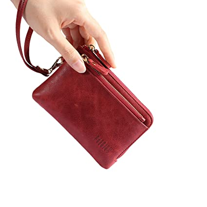72f45cea906bd Buy Pabojoe Wallet Women Small Slim Minimalist Leather Zipper Hand Purse  Wristlet Handbags (Red) Online at Low Prices in India - Amazon.in