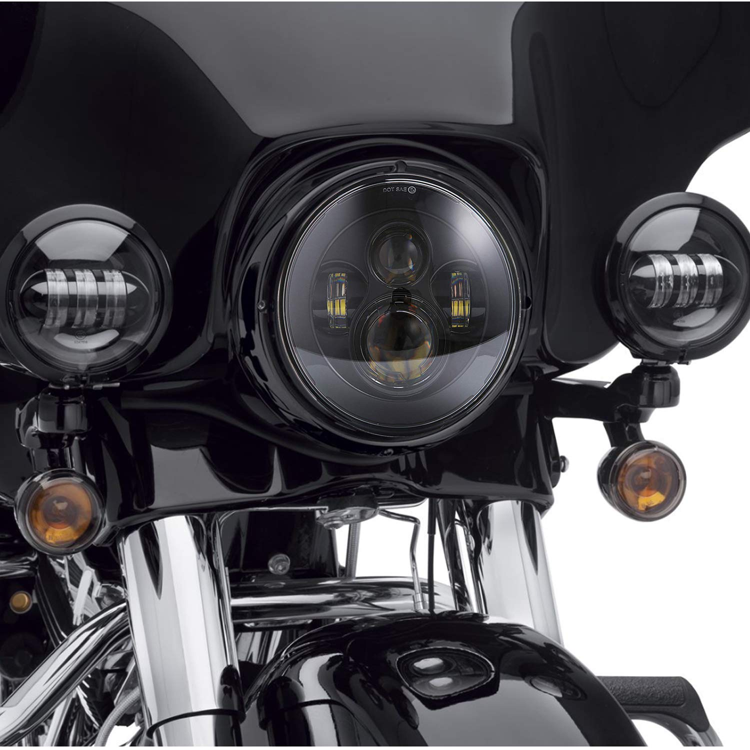 Road Glide Street Glide and Electra Glide 4.5 Fog Light for Harley Davidson Road King 7 LED Headlight Ultra Limited with 4-1//2 LED Passing Lamps Mounting Bracket Ring Black