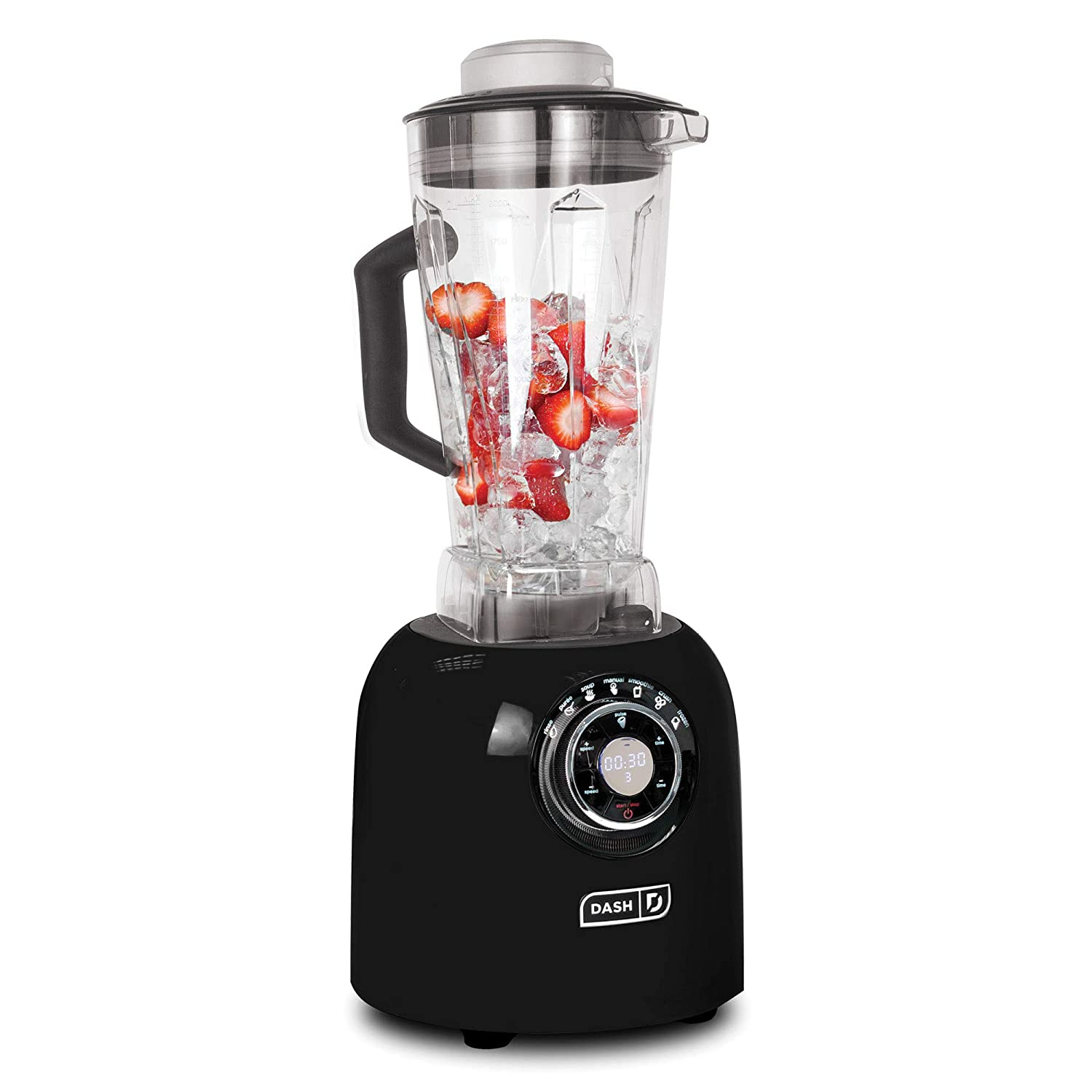 Dash Chef Series 64 oz Blender with Stainless Steel Blades + Digital Display for Coffee Drinks, Frozen Cocktails, Smoothies, Soup, Fondue & More - Black