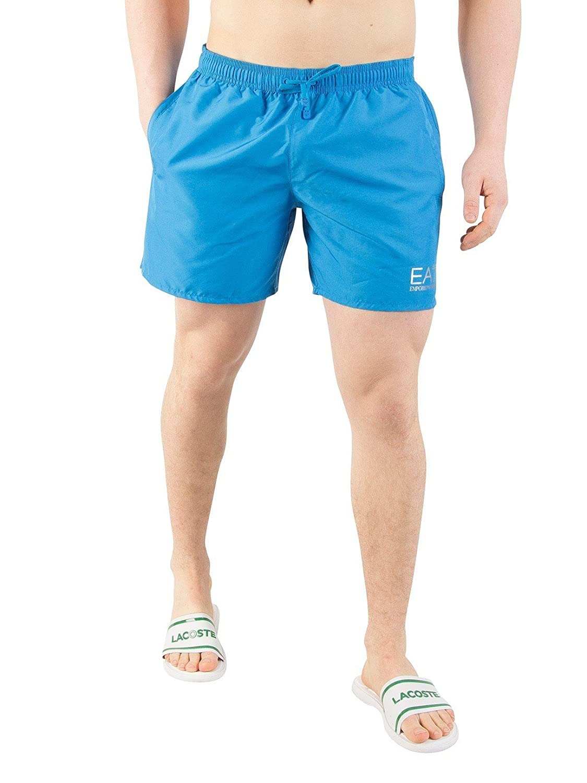 TALLA L. Natación Shorts Color Turquesa Color Azul Versace Ea7 Hombres Con Plata