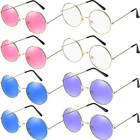 Bememo - 8 pares de gafas de sol hippie redondas, estilo ...
