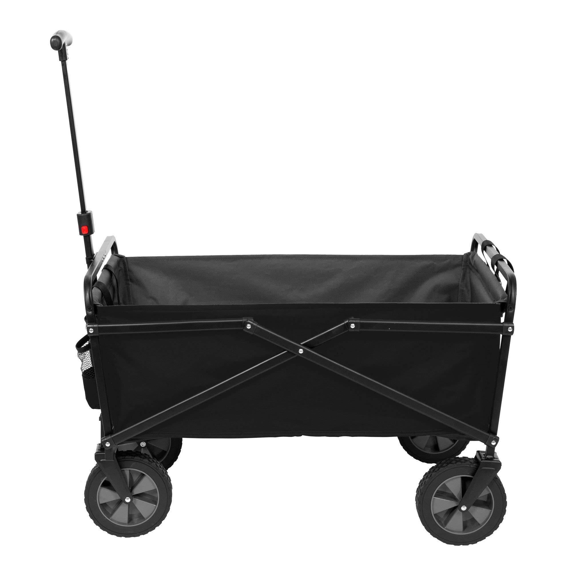 Seina Heavy Duty Compact Folding 225 Pound Capacity Outdoor Cart, Black/Gray