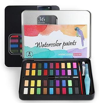 SS SHOVAN Caja de Acuarelas, 36 Colores Pigmento sólido Set ...
