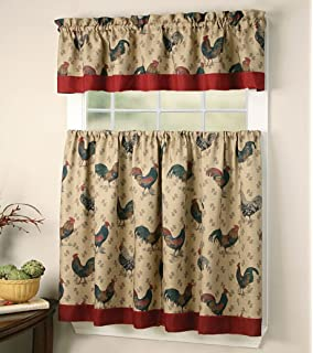 Elegant Window Treatment Rooster 3piece Kitchen Curtain Lovely Tier And  Valance Set