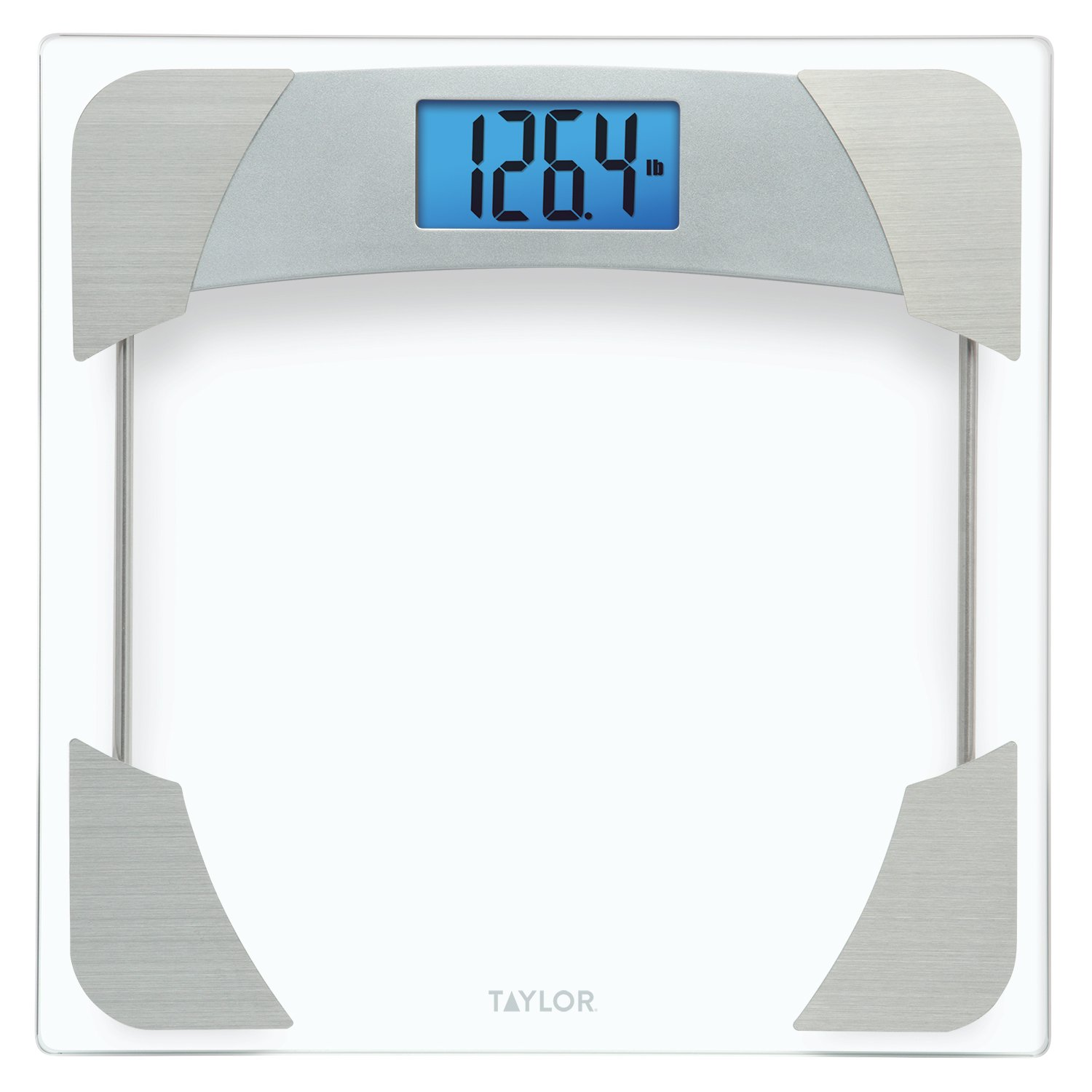 CDM product Taylor 400 Lb. Capacity Digital Glass Bathroom Scale Stainless Steel Accents big image