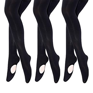 7024e7918a0a2 MANZI Big Girls 3 Pairs Pack Solid Color Comfortable Convertible Ballet  Tights(4Y-6Y