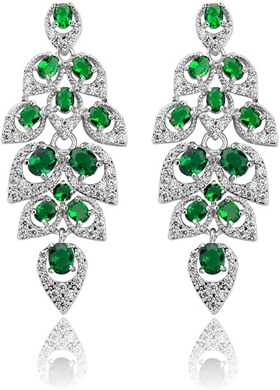 Beydodo Pendientes Chapado en Oro Pendientes Gota de Agua Hoja Pendientes de Mujer Pendientes Cristal Color Coral Pendientes Verde