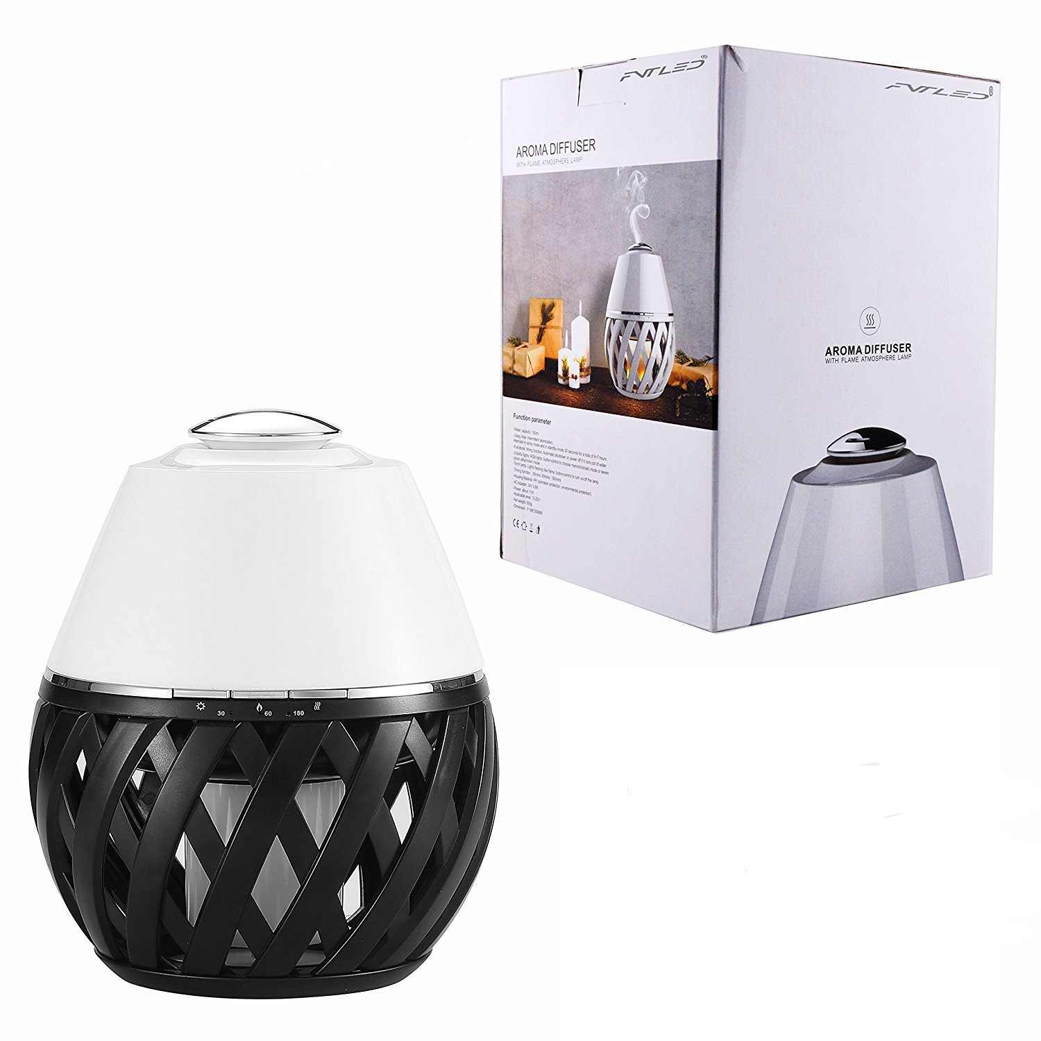 Sumaote LED Flame Lamp Aroma Diffuser, Torch Atmosphere Light With LED Flicker Yellow Dancing Light & Aroma Diffuser 150ml Humidifier Oil Diffuser with Timing Function for Spa Bedroom Babyroom by Sumaote (Image #7)