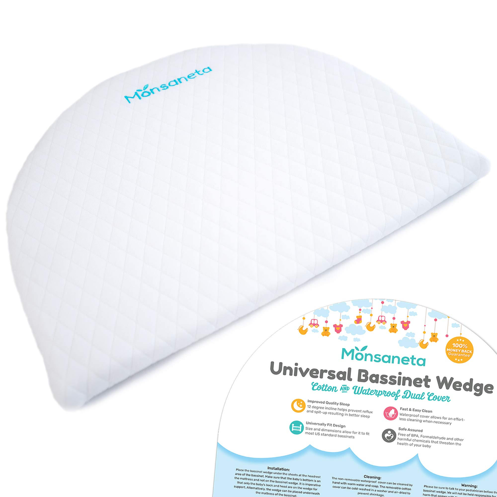 Universal Bassinet Wedge for Baby Crib | Sleep Positioner for Infant Acid Reflux Relief | Elevated Incline Sleeping Pillow for Babies | Waterproof Removable Cotton Cover | Memory Foam Wedge for Reflux