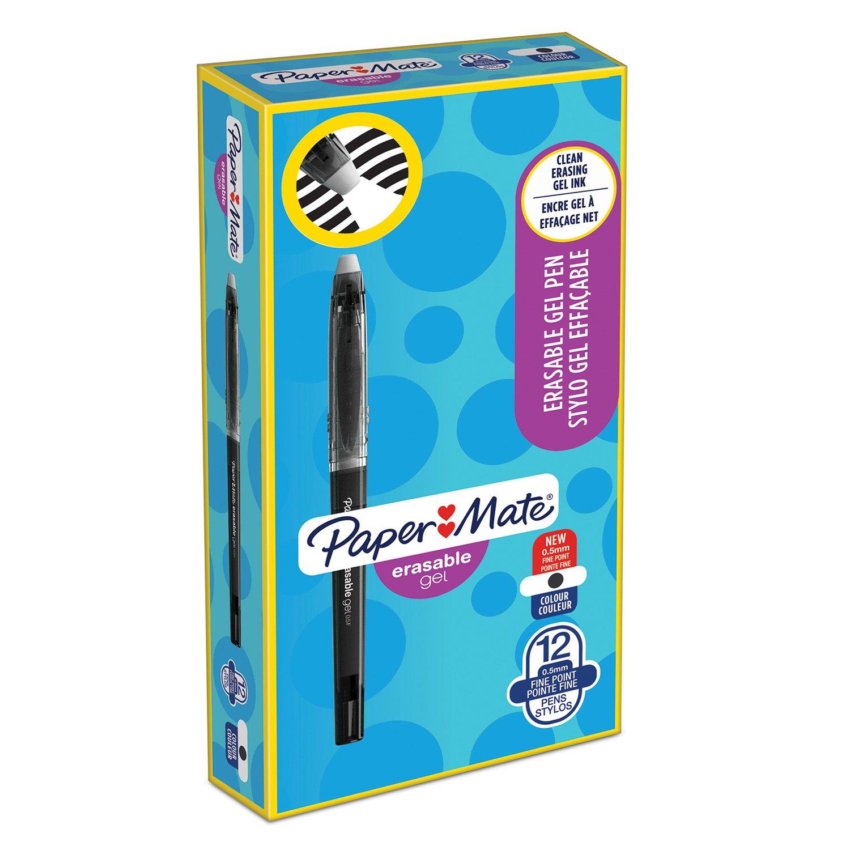 Paper Mate Erasable Gel, penna a punta media da 0,7 mm, nero + 2 ricariche Newell Rubbermaid 1984530