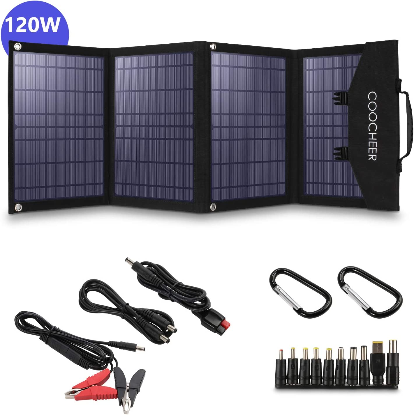 COOCHEER Solar Charger 120W Portable Solar Panel Foldable for Power Station Generator and Laptop Tablet GPS iPhone iPad Camera for Emergency Hurricane Home